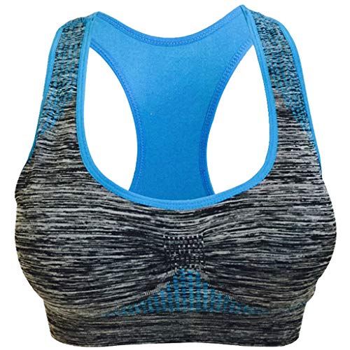 (RIUDA Sports Bras for Women Seamless High or Low for Yoga Fitness Letter Print Vest Blue )