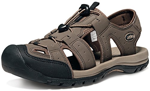 ATIKA Men's Sports Sandals Trail Outdoor Water Shoes 3Layer Toecap, Cairo(m108) - Choco Brown, 11