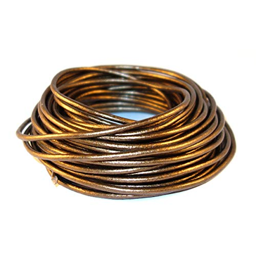 cords craft 2.0mm Round Leather Cord Leather String Metallic Color Jewelry & Craft Making Bracelet Necklace Beading, 10 Meters / 10.93 Yards (Metallic Bronze)