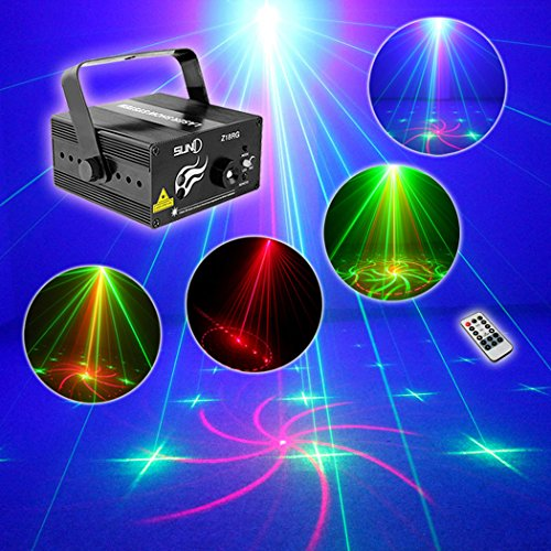 [SUNY Laser Light Home Decor Red Green RG 18 Gobo Projector Stage Lighting Z18RG for DJ Show Christmas Family Party Indoor Bar Hot Mini] (Party Fog Machine)