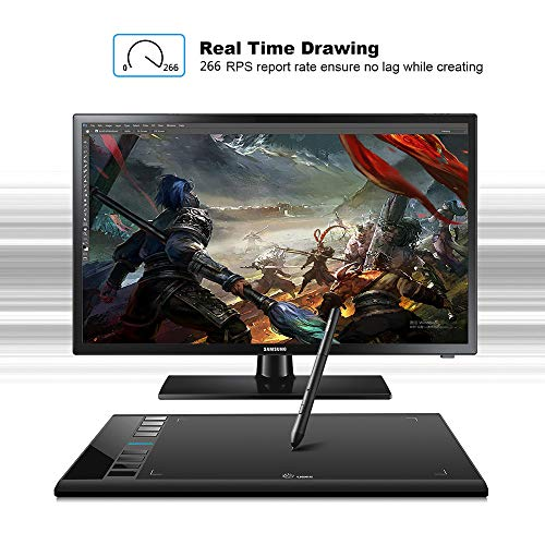 UGEE M708 Graphics Tablet, 10 x 6 Inch Large Drawing Tablet, 8192 Levels Pressure Battery-Free Pen Stylus, 8 Hotkeys, Compatible With Windows 10/8/7 Mac Os Artist, Designer, Amateur