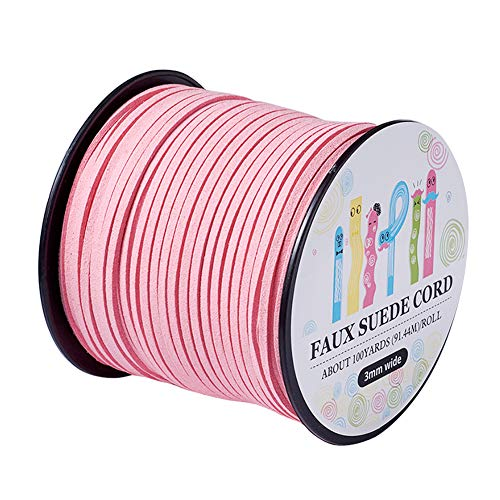(Pandahall 98Yard 90m/roll 3x1.4mm Faux Suede Cord String Leather Lace Beading Thread Suede Lace Double Sided with Roll Spool 295feet Pink)