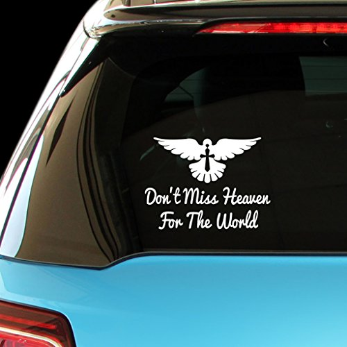 ShirtMania DON'T MISS HEAVEN FOR THE WORLD Religious Christian Car Laptop Wall Sticker (Religious Accessories)