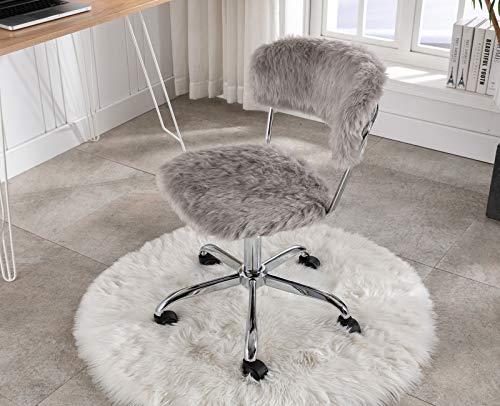 Faux Fur Task Chair Furry Home Desk Chair DM Furniture Fluffy Swivel Chair Height Adjustable for Women, Girls, Kids…