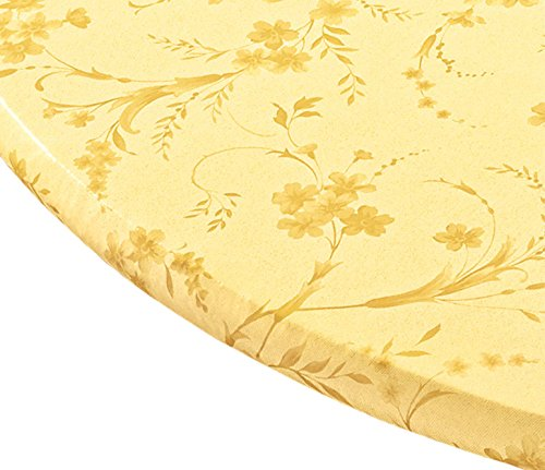 Miles Kimball Floral Swirl Vinyl Elasticized Table Cover, 42 x 68 Inch Oval, Yellow