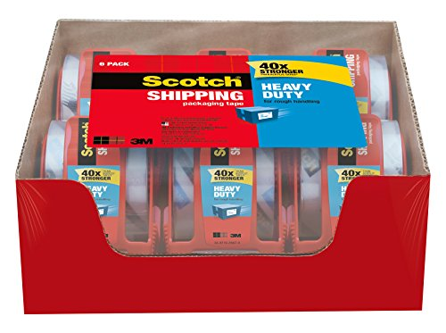Box Sealing Tape - Scotch Heavy Duty Shipping Packaging Tape, 1.88 inches x 800 inches, 6 Rolls with Dispenser, 1.5 inch Core (142-6)