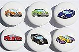 Stock Race Car Drawer Pulls / Race Car Childern's Nursery Decor Ceramic Drawer Knobs, 6 Set
