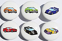 Stock Race Car Drawer Pulls / Race Car Childern\'s Nursery Decor Ceramic Drawer Knobs, 6 Set