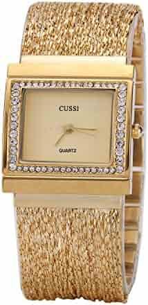 Ladies Square Crystal Bracelet Dress Wrist Watch for Women - Female Gold