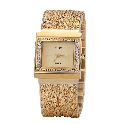 Ladies Square Crystal Bracelet Dress Wrist Watch for Women - Female Gold (Crystal Watch Dress Womens)