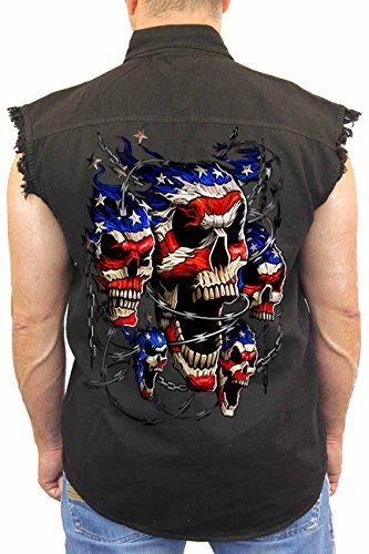 (SHORE TRENDZ Men's Sleeveless Denim Shirt USA Flag Skulls & Chains Biker: Black)