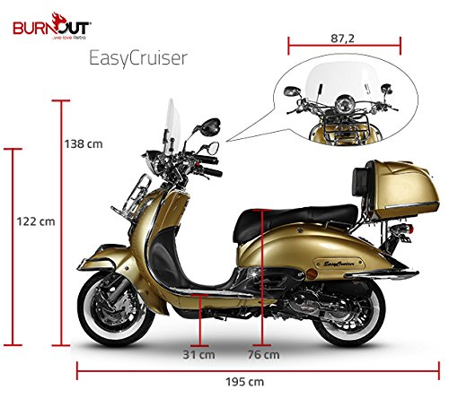 Retro Roller Easy Cruiser Chrom 50 ccm gold Motorroller Scooter Moped Mofa Easycruiser gold