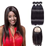 RED QUEEN 360 Lace Frontal Closure With Bundles 8A Brazilian Straight Virgin Hair With Closure 3 Bundles Human Hair With 360 Lace Frontal Closure Brazilian Virgin Hair 20 22 24 + 16 inch