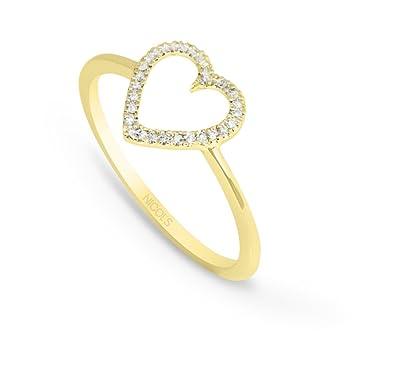 NICOLS 29210221x10 - Anillo Oro Amarillo (18kt) con Corazón de pavé de Diamantes: Amazon.es: Joyería