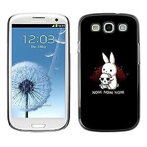 TopCaseStore / la caja del caucho duro de la cubierta de protección de la piel - Nom Bunny Ears Scull Halloween Dark - Samsung Galaxy S3 I9300