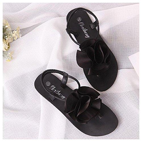 Shoes Outdoor Flower Women Shoes Sandals Inkach Black Bohemia Toe Flat Summer Peep Sandals PXwxvnq11H