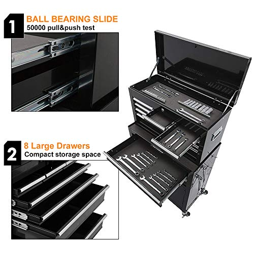 Portable Tool Storage Box 2 in 1 Rolling Tool Chest Removable Tool Storage Cabinet with Sliding Drawers Keyed Locking System Toolbox Organizer,Black by I-Choice (Image #2)
