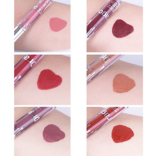 Coosa 6 Colors Waterproof Long Lasting Liquid Lipstick Set Colored Beauty Lip Gloss - Set of 6