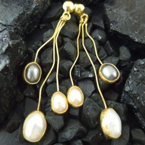 Ancient Design Jewelry Handmade Designer Black & White Pearl Earring 22K Gold Over 925K Sterling Silver ()