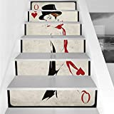 Stair Stickers Wall Stickers,6 PCS Self-Adhesive,Queen,Retro Style Woman with Hat Playing Card Design Poker Casino Icon Gamble Decorative,Vermilion Beige,Stair Riser Decal for Living Room, Hall, Kids