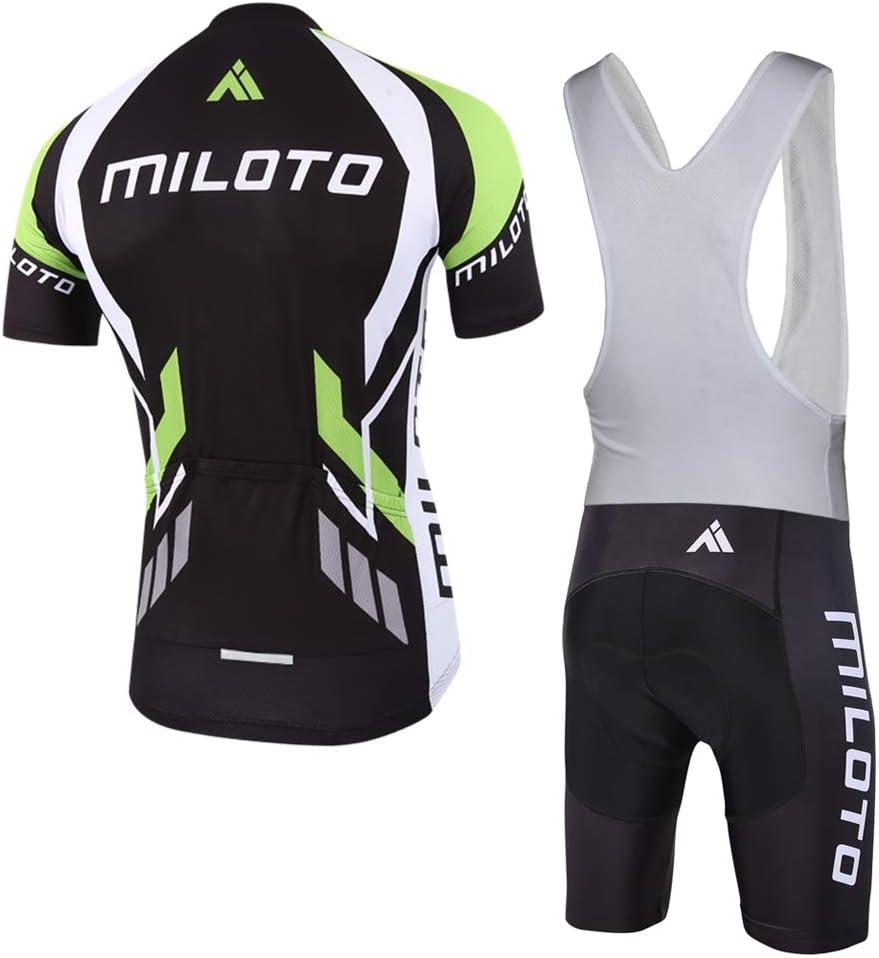 MILOTO Hombre Conjunto Ciclismo de Manga Corta Jersey y Blanco Pantalones Cortos Babero