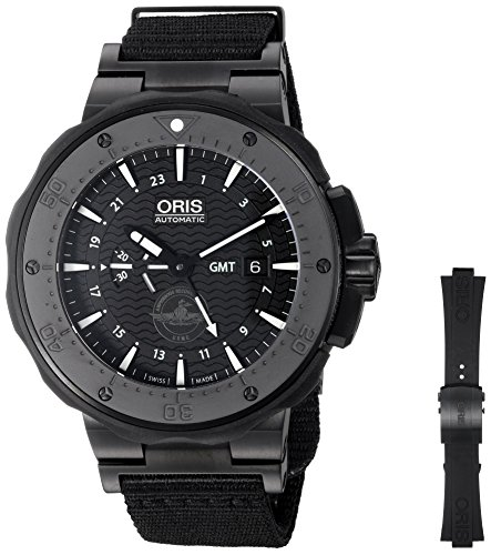 Oris Men's 'Force Recon Gmt' Swiss Automatic Titanium and Rubber Dress Watch, Color:Black (Model: 74777157754SET)