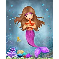 "Mermaid Wall Art Personalized Name (Optional) Poster Girls Bedroom Decorative Artwork 8""x10""/ 11""x14""/ 16""x20"" Unframed Print Custom Hair Skin Color"