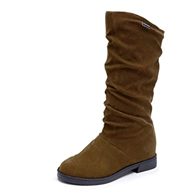 Botas Altas,ZARLLE Otoño Invierno Botas de Mujer Botines Cálidos Cálidos Zapatos de Invierno Zapatos con Cremallera de tamaño Medio Casual Zapatos: ...