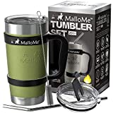 MalloMe Stainless Steel Vacuum Insulated 6-Piece Tumbler Set, Olive Army Green 20 oz