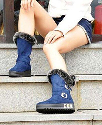 Naughtyangel Donna Inverno Caldo Neve Stivaletti Con Fibbia Alla Caviglia Stivali Faux Fox Rabbit Fur Shoes Blue