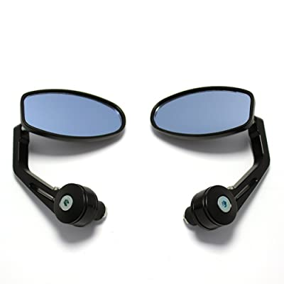OKSTNO Universal Black Motorcycle 7 8 Handle Bar End Side Mirrors for Cruiser Sport Bikes: Automotive