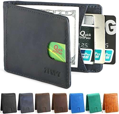 Zenpy Crazy Horse Full Grain Leather RFID Blocking Bifold Front Pocket Wallets Money Clip Slim Minimalist Wallet for Men