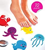 Curious Columbus Non-Slip Bathtub Stickers by Pack of 10 Large Sea Creature Decal Treads. Best Adhesive Safety Anti-Slip Appliques for Bath Tub and Shower Surfaces