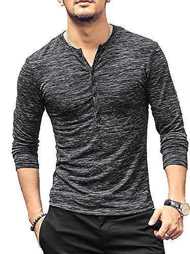 Gtealife Mens Casual Long Sleeve Henley T Shirt Slim Fit Tee Thin Heathered Cotton Shirts Basic Tops