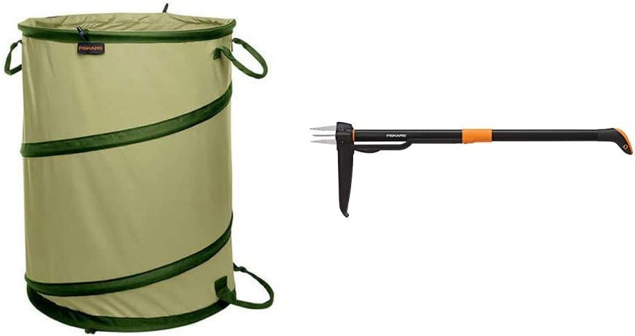 Fiskars Kangaroo Collapsible Container Gardening Bag, 30 Gallon, Green (394050-1004) 4-Claw Weeder 39 Inch, Black/Orange (339950-1001)