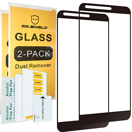 [2-PACK]-Mr Shield For LG Stylo 3 Plus [Tempered Glass] [FullCover] [Black] Screen Protector with Lifetime Replacement Warranty