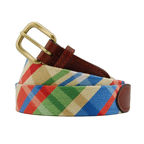 Smathers & Branson Men's Summer Madras Needlepoint Belt 32 Multi by Smathers & Branson