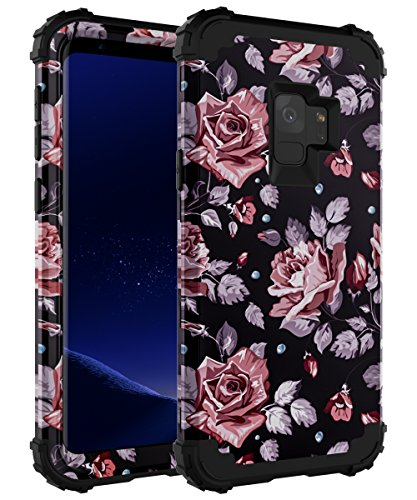 OBBCase Galaxy E Case,Galaxy E Floral Case,3 in 1 Heavy Duty Hybrid Silicone + Hard PC Sturdy Cover High Impact Resistant Protective Case for Samsung Galaxy E Rose Flower Black