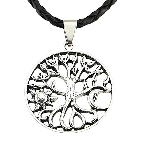 HOPEANT Viking Necklace Norse Amulet Pendant Necklace Tree of Life Celtic Pagan Jewelry Viking Gift Jewelry for Men Unisex VKXL14