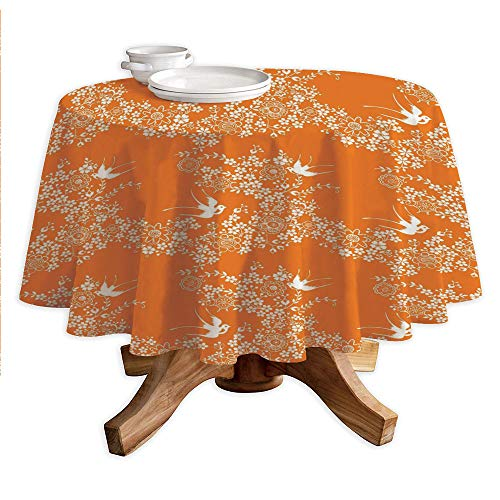 - Orange Round Polyester Tablecloth,Asian Style Spring Meadow Pattern with Branches in Full Blossom with Birds Nature,Dining Room Kitchen Round Table Cover,42