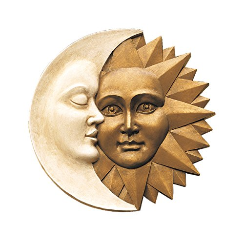 Design Toscano Celestial Harmony Sun and Moon Outdoor Wall Sculpture 15 Inch Faux Ivory and Gold - Art Moon Face Wall