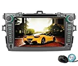 YINUO 8 Inch 800 HD Touch Screen Car DVD Player GPS Stereo for Toyota Corolla 2007-2012 In Dash Navigation iPhone Music/AM FM Radio/SWC/Bluetooth/DVR/AV-IN/1080P-Video,7 Color Button Illuminations