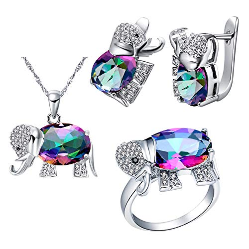 Uloveido Women's Elephant Shape Simulated Rainbow Topaz Silver Color Chain Necklace Studs Clip On Earrings Halo Cocktail Ring Wedding Animal Jewelry Set for Girls T485