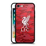 Official Liverpool Football Club Home Colourways Liver Bird Camou Black Hybrid Glass Back Case for iPhone 7/iPhone 8