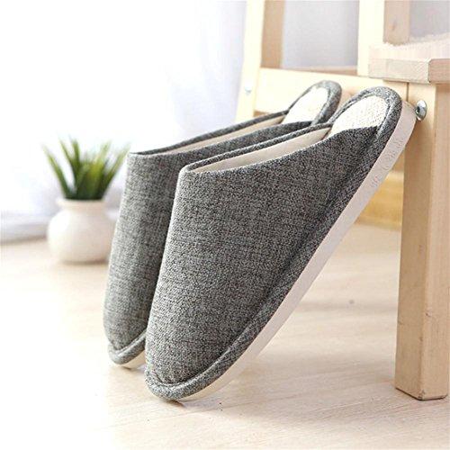 W&XY autumn Winter Slippers Men House Linen Indoor thin Cotton Shoes 45 3LmZLPU