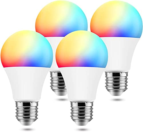 BrizLabs Smart Light Bulbs, 9W WiFi Bulbs No Hub Required, Warm White Multicolor Dimmable LED Bulb, A19 60W eq, E26, 806LM, Compatible with Alexa Google Assistant, 4 Pack
