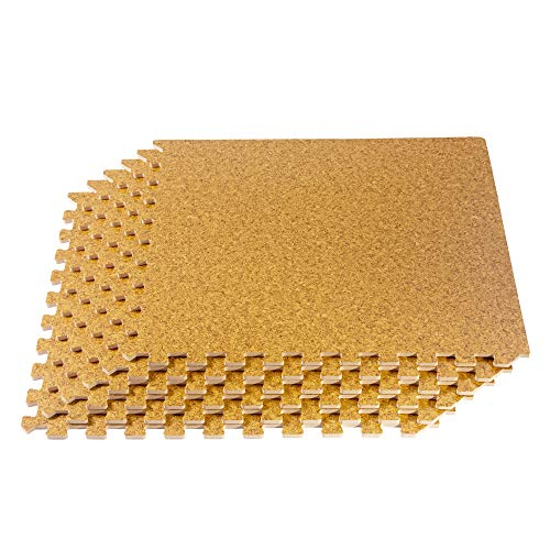 "Forest Floor 3/8"" Thick Printed Wood Grain Interlocking Foam Floor Mats, 200 Sq Ft (50 Tiles), Light Cork"