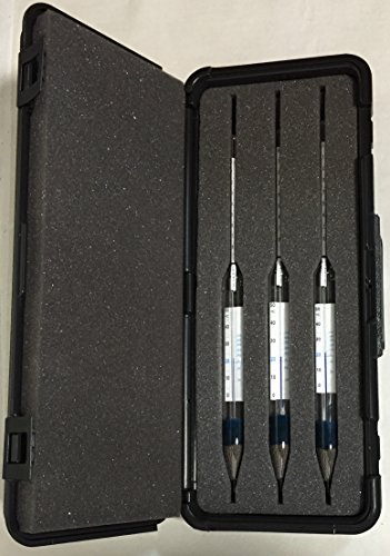 Set of 3 SafetyBlue ThermoHydrometers with the following ranges 0-8.5%, 7.5-16.5%, 15.5-24% Plato X 0.1% all with a 0/50C X1C Thermometer. Supplied in a sturdy plastic case with foam inserts