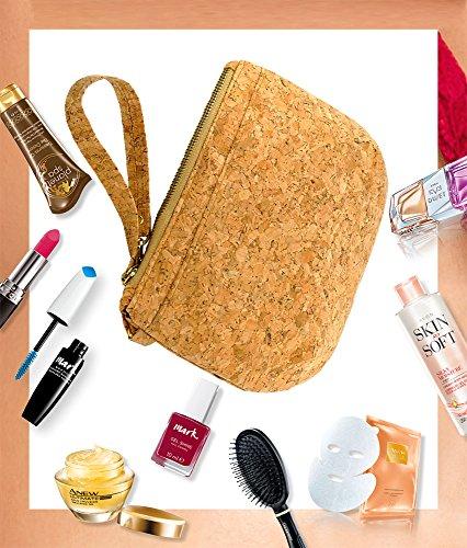 Clutch Cosmetica Vegan Per Accessori Trucco / Capelli, Con Cerniera In Sughero Per Donna E Bambina, 25x15,5 Cm (lxa)
