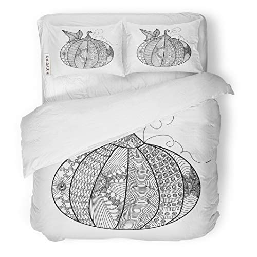 Tarolo Bedding Duvet Cover Set Fall Pumpkin Beautiful Pattern Doodles Coloring Page Book for Adults and Children Anti 3 Piece Twin 68